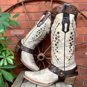 CORRAL Vintage Harness Studded Tall Cowboy Boots
